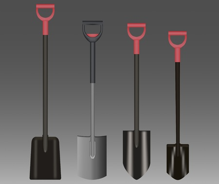 Shovel Illustration drawing with Red Handle on gradient background Çizim