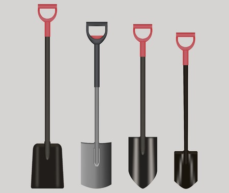 Shovel Illustration drawing with Red Handle on gray background