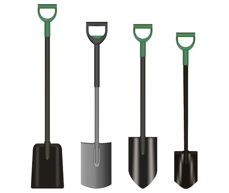 Shovel Illustration drawing with Green Handle on white background