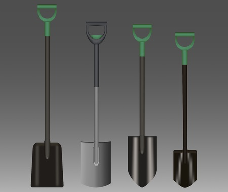 Shovel Illustration drawing with Green Handle on gradient background