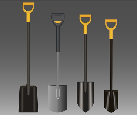 Shovel Illustration drawing with Yellow Handle on gradient background Çizim