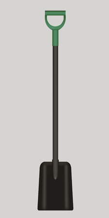 Shovel Illustration drawing with green Handle on gray background