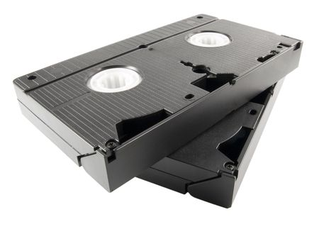 vhs videotape: a close up on video tapes Stock Photo