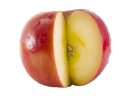 a close-up on a fresh fuji apple