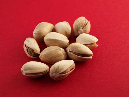 a close-up on pistachios