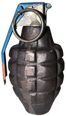 melee: close-up on a grenade