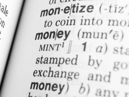 a close up on the word money in the dictionary