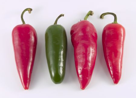 a close-up on hot peppers Stock Photo