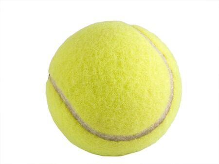 a close up on a tennis ball isolated on a white background Stock Photo