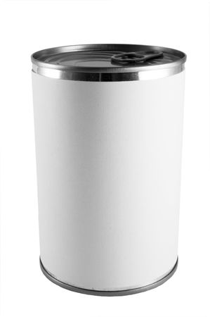 a tin can with a blank label