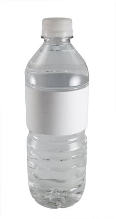 a close-up on a water bottle with a blank label. Stock Photo