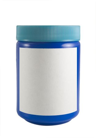 a close up on a blue bottle isolated on a white background with a blank label, Stock Photo
