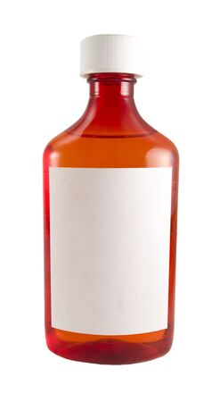 a close up on a medicine bottle with a blank label isolated on a white background  photo