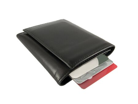 a close up on a black leather wallet with credit cards isolated on a white background photo