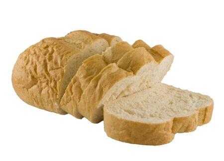 flack: a close up on French Bread sliced and isolated on a white background Stock Photo