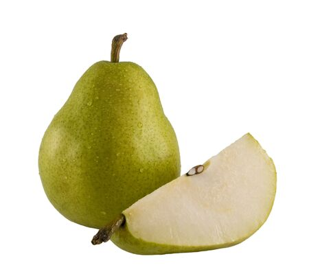 a close up on a fresh pear isolated on a white background