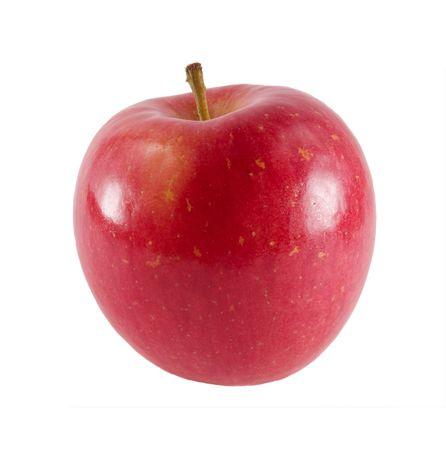 a close-up on a fresh fuji apple. Stock Photo