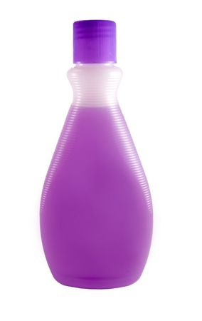 A close up on a bottle of purple fingernail polish remover isolated on a white background. Stock Photo
