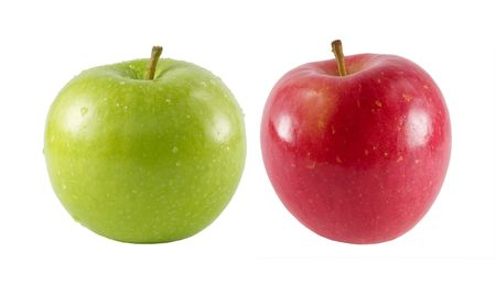 a close-up on a fresh fuji apple and a green apple.