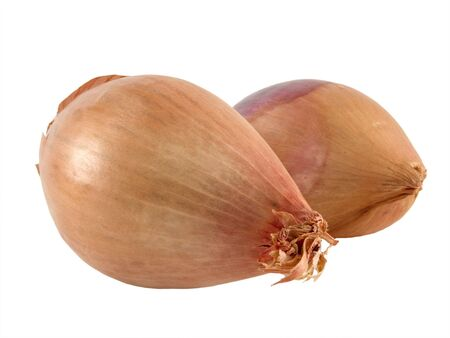 A close up on two Shallots isolated on a white background.