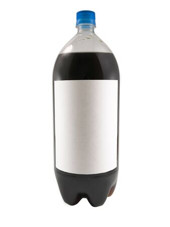 A close up on a soda bottle isolated on a white background with a blank label.