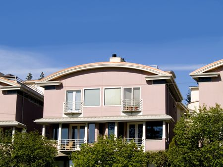 condos: A row of pink apartments in Seattle, WA.