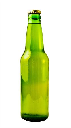 A close up on a green beer bottle isolated on a white background.