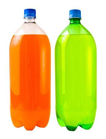 A close up on two soda bottles isolated on a white background with a blank label.
