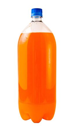 A close up on a orange soda bottle isolated on a white background.