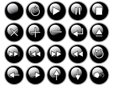 An illustration of glossy black buttons isolated on a white background. These are buttons that might be found on a remote or cddvd player. illustration