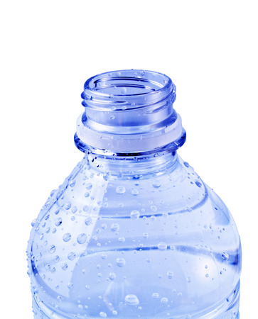 A close up on a open blue water bottle isolated on a white background. photo