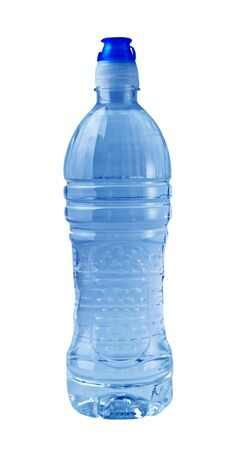 A close up on a blue water bottle isolated on a white background. photo