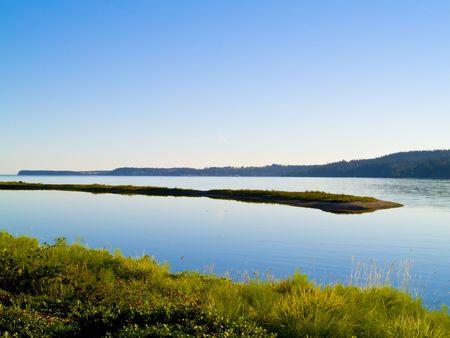 strait of juan de fuca: A small peninsula of the shore of the Strait of Juan de Fuca in the Pacifc Northwest. Stock Photo