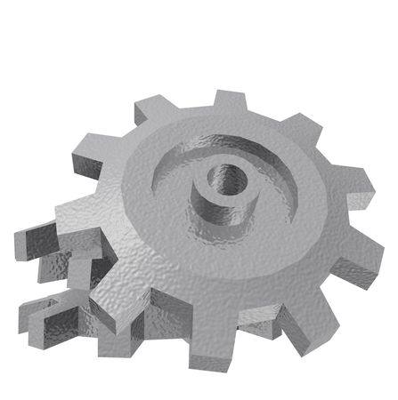 A render of a pile of 3d gears isolated on a white background.