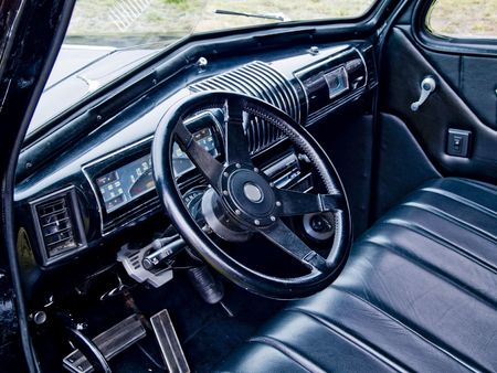 expensive: A close up on the interrior of a classic car.