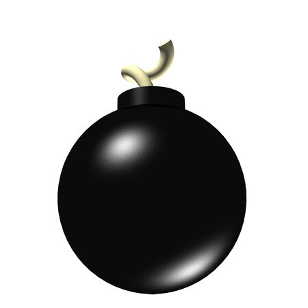 A 3d render of a bomb isolated on a white background. photo