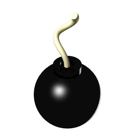 bombard: A 3d rendering di una bomba isolato su uno sfondo bianco. Archivio Fotografico