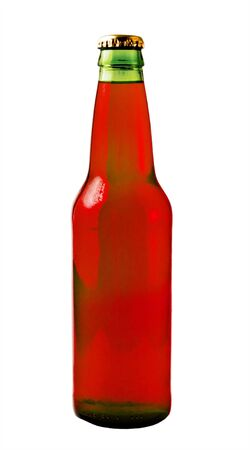 A close up on a green beer bottle filled with red liquid isolated on a white background. Stock Photo - 2186740