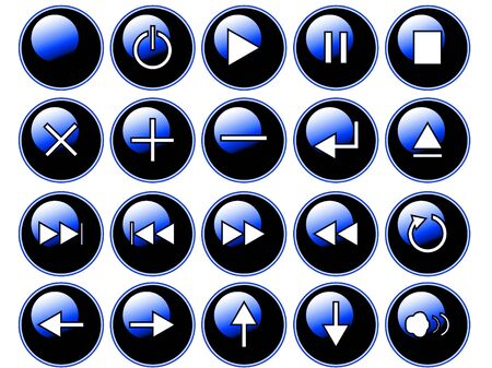 An illustration of glossy blue buttons isolated on a white background. These are buttons that might be found on a remote or cddvd player.  illustration