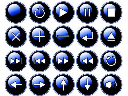 Un ejemplo de botones de color azul brillante aislado sobre un fondo blanco. Estos son los botones que podrían encontrarse en un equipo remoto o cd / dvd player.  Foto de archivo - 2227155