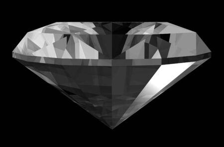 A 3d render of a diamond isolated on a black background.