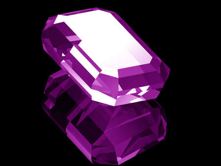 A render of a 3d Amethyst gem isolated on a black background with reflection.  Stock Photo