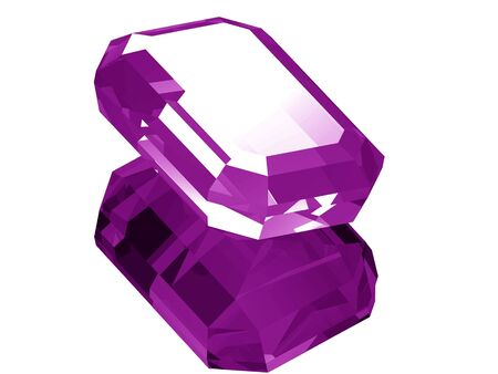 A render of a 3d Amethyst gem isolated on a white background with reflection.