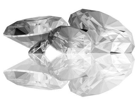A 3d render of a diamonds isolated on a white background.