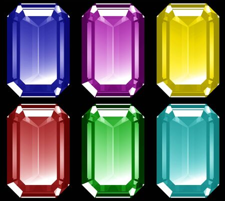 accessory: A series of 3d gems isolated on a black background.
