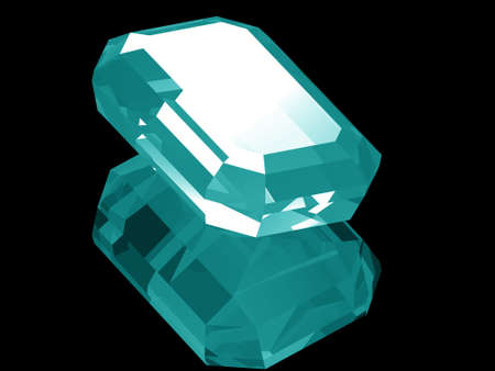 A render of a 3d Aquamarine gem isolated on a black background with reflection.