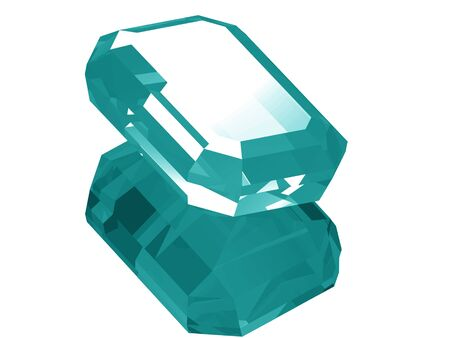 A render of a 3d Aquamarine gem isolated on a white background with reflection.