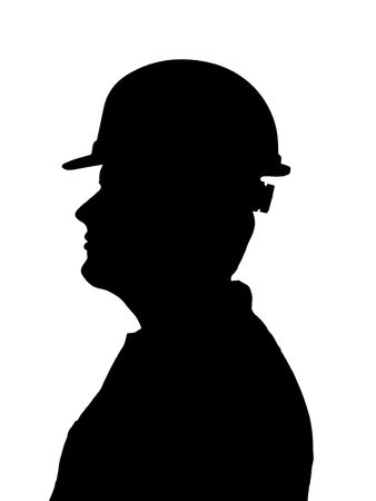 An illustration of a young adult male construction worker or a firemans silhouette isolated on a white background. Stock Photo
