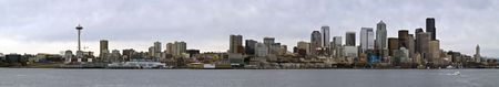 A wide angle panoramic photo of the Seattle skyline and waterfront in Washington.  photo