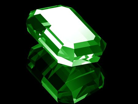 A render of a 3d Emerald isolated on a black background with reflection.  Stock fotó